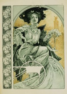 1898. Poster of an Elegant Woman in Repose by Alphonse Marie Mucha.