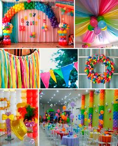 Love to go crazy and wild with colours? Try out this theme and you can have your colourful party 🌈 Candy Theme Birthday Party, Trolls Birthday Party, Birthday Party Centerpieces, Rainbow Birthday Party, Rainbow Theme, 4th Birthday Parties, Birthday Diy, Rainbow Balloon Arch, Rainbow Parties