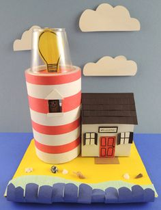 Create an adorable lighthouse dollhouse.then play in some waves, chill on the beach, and collect shells! Book Projects, Projects For Kids, Big Blue Whale, Oatmeal Container, Crepe Paper Streamers, Small World Play, Paper Light, Red Wagon, Small Boxes
