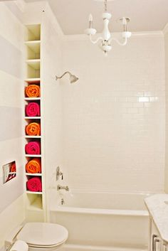 neat idea for towel storage in the bathroom - MyHomeLookBook