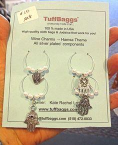 All hamsa or hand of Fatima theme wine charms by racheltreasures, $10.00