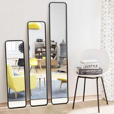 3 spiegels met metalen lijst, zwart, DEVON