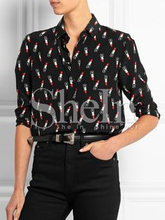 Shop Black Long Sleeve Lipstick Print Blouse online. SheIn offers Black Long Sleeve Lipstick Print Blouse & more to fit your fashionable needs.