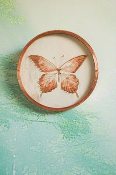 Here is a new artwork of mine that I just listed in my shop! Etsy listing at https://www.etsy.com/listing/209629714/copper-butterfly-design-mixed-media-wall
