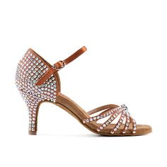 SSSSSUPER! SS20 Rhinestones on the entire TAN SANDAL by Paoul. Indicated for professional dancers. #latin #american #shoes #madeinitaly #danceshoes #dancesport
