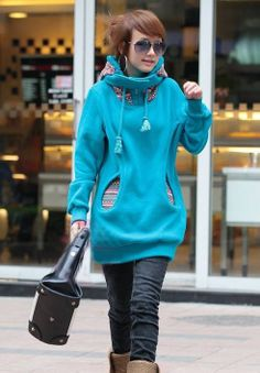 New Arrival Long Sleeve Solid Color Long Thick Hoodie: dressyours.com