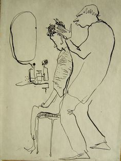 """Pen and ink drawing by Dorothy Messenger """"Haircut Day"""""""