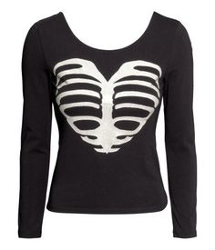 I thought ths jersey top would be cute for a minimal sugar skull/skeleton costume | H&M US
