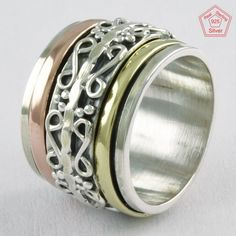 Sz 6.5 US, ThREE TONE dESIGNER 925 STERLING SILVER SPINNER RING, R4642 #SilvexImagesIndiaPvtLtd #Spinner #AllOccasions