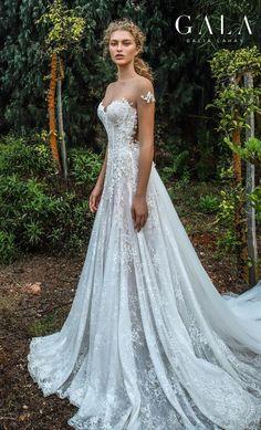 5cbd489b1c6 VII Fall 2019 Bridal    sheer short sleeves illusion jewel sweetheart  neckline full embellishment elegant princess romantic a line wedding dress  chapel ...