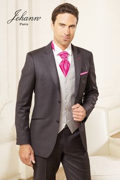 johann costume 3 pices gris anthracite et strawberry - Costume Mariage Homme 3 Pieces