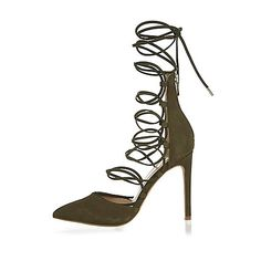 Khaki suede lace up court heels Lace Up High Heels, Strappy High Heels, Leather High Heels, Suede Pumps, High Heel Pumps, Lace Up Shoes, Strap Heels, Pump Shoes, Leather And Lace