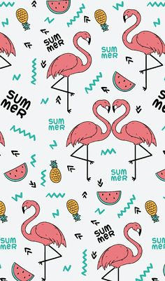 FLAMINGO and tropical fruits pattern.