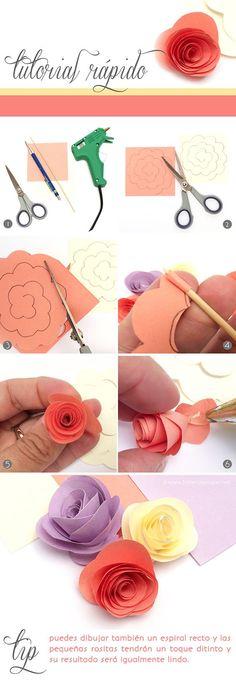 DIY Tutorial Rápido: Hoy como hacer mini rositas de papel! Sigue este simple paso a paso :)