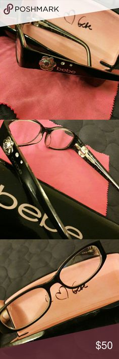 bebe frames Really cute black frame with flower detail. They were my daughter's she barely wore them. bebe Accessories Glasses