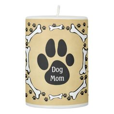 #Dog Mom = Puppy Dog Pet Theme Pillar Candle - #Petgifts #Pet #Gifts #giftideas #giftidea #petlovers