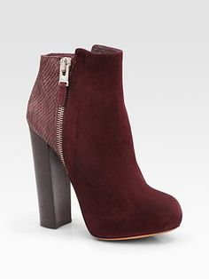 B Brian Atwood - Paramour Suede and Snake-Print Leather Ankle Boots in Wine