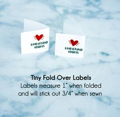 fold over label fabric labels quilt label fabric tags Sewing Labels, Fabric Labels, Quilt Labels, Fabric Tags, Iron On Labels, Stick It Out, Quilts, Knitting, Words