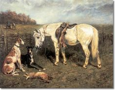 John Emms horse Paintings | John Emms - Waiting for Master With Greyhounds and Horse 1897 Painting