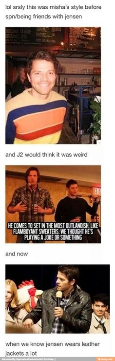 Not only does Cas take cues from Dean, Misha also takes them from Jensen. ♥
