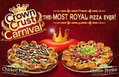 """2012's Craziest Fast Food Items: Pizza Hut's """"Crown Crust Carnival"""" If regular pizza crust has you bored stiff, venture to the Middle East for Pizza Hut's stuffed crust pies -- filled with cheeseburgers and chicken fingers. They're aptly named """"Crown Crust Carnival"""" pizzas."""