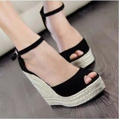 53f4dac62f Open Toe Buckle Strap Straw Braid Wedges Platform Beach Shoes Sapato Salto  Anabela
