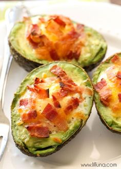 We love these Avocado Bacon and Eggs - they're so easy too! Use nitrate-free turkey bacon, and skip the sprinkle of cheese - serves 2.
