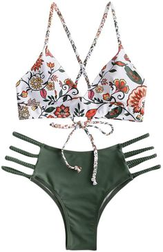 ✦Tie closure ✦Material: Nylon,Polyester,Spandex,good elasticity ✦Crossing braided lace-up straps bra top,flowers and braided ladder straps bottoms,wire free,padded cups ✦Grab people eyes with this women bikini in your vacation ✦This women two piece braided bikini set is perfect for women in summer, swimwear,sport,beachwear, beach party, pool party and vacation ✦Before order, please carefully read the Size Chart we provided Two Piece Swimsuits, Women Swimsuits, Zaful Bikinis, Women's Bikinis, Mix And Match Bikini, Leggings, Bikini Workout, Bikini Set, Bathing Suits