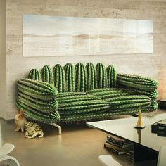 Cactus wallpapers and cactus-inspired pieces are very popular now that many people have applied them to decorate their rooms at home. Here, we've gathered more than 20 unique cactus home decorating ideas for your inspiration. Funky Furniture, Unique Furniture, Furniture Design, Handmade Furniture, Furniture Stores, Cheap Furniture, Cheap Home Decor, Diy Home Decor, Room Decor