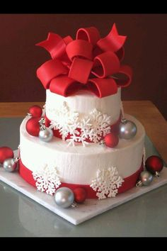 Red white icicle cake