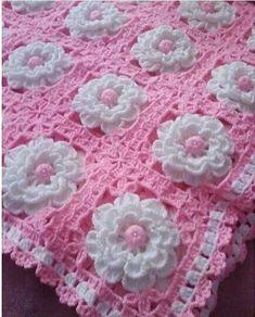 Crochet Flower Tutorial, Crochet Flower Patterns, Crochet Blanket Patterns, Crochet Designs, Crochet Flowers, Baby Knitting Patterns, Granny Square Crochet Pattern, Crochet Squares, Crochet Motif