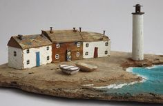 Kirsty Elson makes art from driftwood, and is my very favourite. I dream of owning one of her pieces. Clay Houses, Ceramic Houses, Miniature Houses, Wooden Houses, Driftwood Sculpture, Driftwood Art, Kirsty Elson, Deco Marine, Small Wooden House