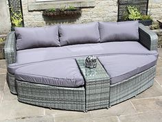 Rattan Lounge Set Sofa with Table and Ottomans Outdoor Garden Furniture in Grey - Garden Rattan Furniture Fire Pit Furniture, Rattan Garden Furniture, Rattan Sofa, Table Furniture, Outdoor Furniture, Furniture Covers, Furniture Sets, Furniture Design, Outdoor Daybed