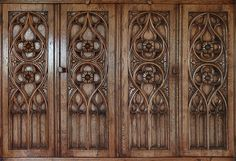 Flamboyant period style tracery carved oak bi-fold doors of bespoke TV cabinet Oak Tv Cabinet, Tv Cupboard, Tv Stand Cabinet, Tv Cabinets, Furniture Design, Furniture Ideas, Hand Carved, Medieval, Carving