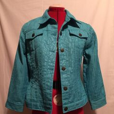 Ruby Rd Blue Crop jacket size 10 Beautiful blue crop jack with adjustable side buttons.  Great for spring time with a tan shell underneath for a day in the office or an evening out for dinner.  Quarter sleeves and in perfect condition. Ruby Rd.  Jackets & Coats Blazers