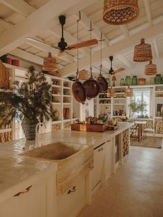 Farm Kitchen Ideas, Country Kitchen, Kitchen Layout, Stone Sink, Balearic Islands, Menorca, Bohemian Decor, Future House, Kitchen Dining