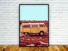 vw camper van print, vw photography, vw photo,  wall art, home decor, photography print, surf print, desert, vollkswagen van, vintage, 70s by PrintmyInk on Etsy