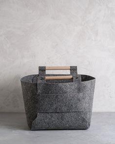 Large Felt Storage Bin with Natural Wood by loopdesignstudio