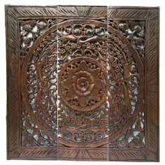 "Elegant Wood Carved Wall Plaque. Wood Carved Floral Wall Art. Balinese Home Decor. Asian Wood Carving Wall Art. Decorative Thai Wall Relief Panel Sculpture. 36""x36""x0.5"" Available in White Wash and Brown"
