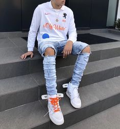 How to get Nike Off-White Air Jordan 1 OG White sneakers Swag Outfits Men, Tomboy Outfits, Dope Outfits, Hype Clothing, Mens Clothing Styles, Off White Shoes, White Sneakers, Urban Fashion, Mens Fashion
