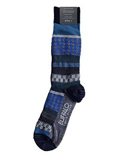 Buffalo David Bitton Socks Blue and Gray Houndstooth and Stripes Design 92e98ee3f6f8