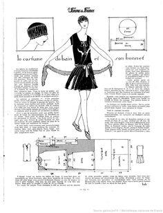 Costume de bain et bonnet (La Femme de France 27/06/1926)                                                                                                                                                     Plus