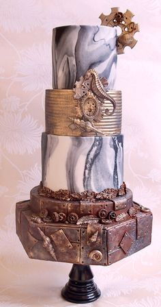 Steampunk Wedding Cake Unique Cakes, Creative Cakes, Amazing Wedding Cakes, Amazing Cakes, Cupcakes, Cupcake Cakes, Pretty Cakes, Beautiful Cakes, Steampunk Wedding Cake