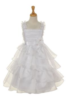 Elegant Crystal Organza Ruffled Communion Dress