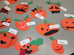Adjective Pumpkins. Kids make pumpkins out of construction paper, glue to black paper, write adjectives to describe their pumpkin around it. Could also practice using a thesaurus to find more creative adjectives.