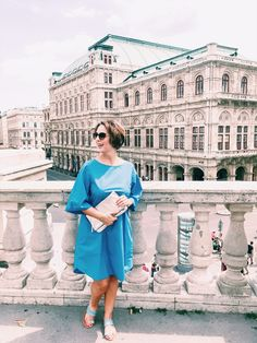This outfit was shorted just in front of the beautiful Vienna opera house White Outfits, Fashion Outfits, Style Fashion, Vienna, Blue Dresses, Opera House, White Dress, Turquoise, Street Style