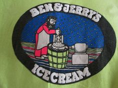 Ben & Jerry's Ice Cream Shirt Vintage 1 Size Fits All Yellow Man Beard Vermont  #Anvil #GraphicTee