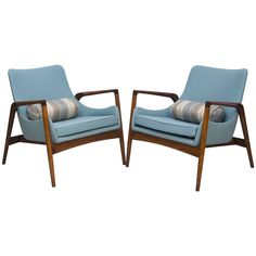 Mid-Century Pair of Danish Lounge Chairs Ib Kofod Larsen | 1stdibs.com