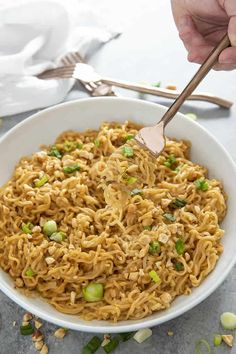 Thai Peanut Ramen Noodles - The Salty Marshmallow Thai Peanut Ramen Noodles gives instant ramen a makeover with a mouthwatering peanut sauce! This easy ramen noodles recipe is ready in ten minutes! Ramen Noodle Recipes, Ramen Noodles, Sausage Recipes, Cooking Recipes, Ramen Dishes, Asian Recipes, Healthy Recipes, Vegetarian Recipes, Ethnic Recipes