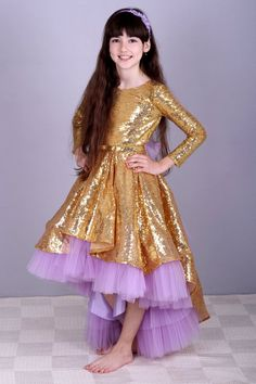 5e1d02699b41 Golden Dress sequins flower girls- high-low Dress Violet tulle- Sequins  Dress-. Guld Brudepige Kjoler